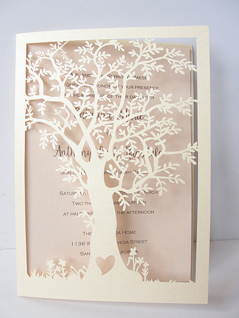 Delightful Laser Cut Tree Wedding Invitation, Fall Wedding Invitation, Tree Wedding  Invite, Rustic Wedding Invitation, Autumn Wedding TREE   2 CREAM Photo Gallery