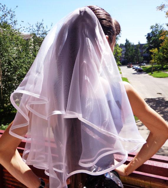 زفاف - Bachelorette party Veil 2-tier white, long length. Bride veil, accessory, bachelorette veil, wedding veil, hens party veil
