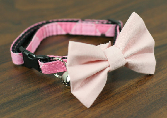 Свадьба - Cat Collar with Bow Tie - Pink Argyle with Soft Pink Bow Tie