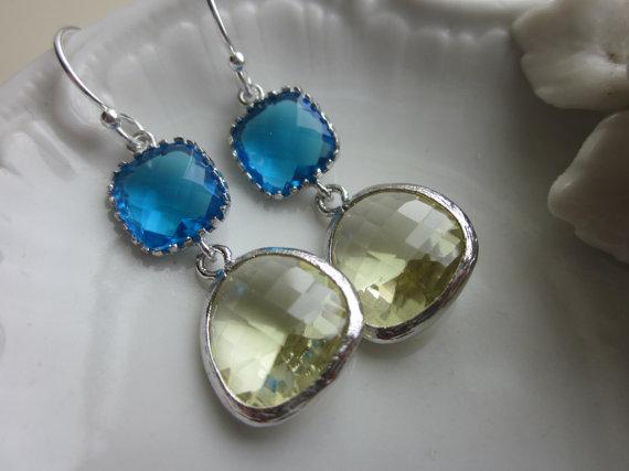 Mariage - Citrine Earrings Sea Blue Silver Plated Two Tier - Bridesmaid Earrings - Bridal Earrings - Wedding Earrings