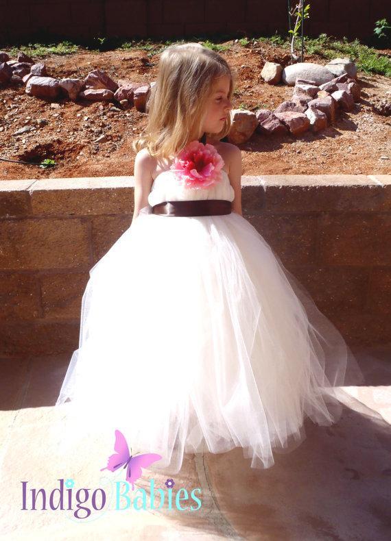 Свадьба - Tutu Dress, Flower Girl Dress, Ivory Tulle, Dark Chocolate Ribbon, Pink Silk Flower, Portrait Dress, Wedding Flower Girl Dress