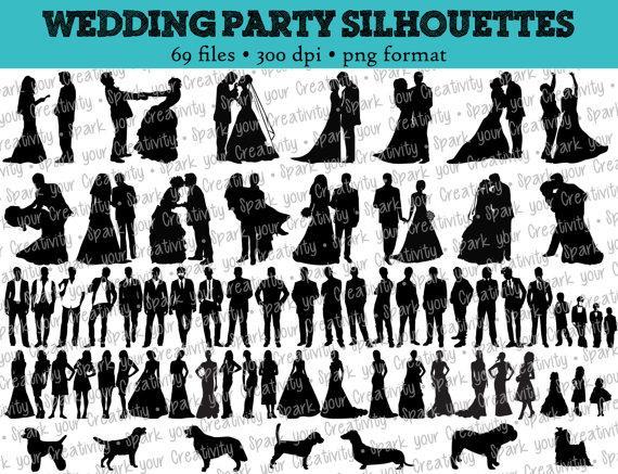 69 wedding party silhouettes wedding bride bridesmaid rh de weddbook com Wedding Party Word Clip Art Wedding Party Word Clip Art