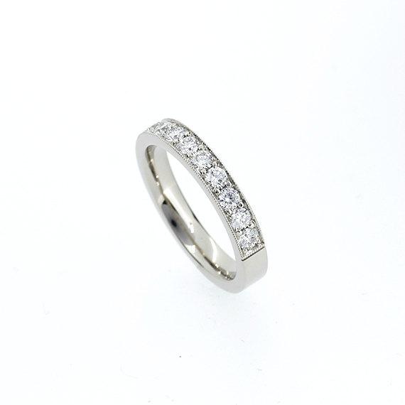 Mariage - 0.54ct Diamond half eternity wedding band, white gold ring, unique, milgrain ring, diamond engagement, vintage style, wide, diamond band