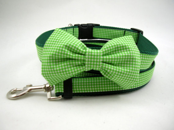 Mariage - Boy Dog Collar with Bow Tie and Adjustable Leash Set