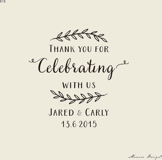Свадьба - Rustic stamp-Custom Wedding Calligrapy Stamp - Thank You For Celebrating With Us personalized wedding stamp for DIY wedding favors