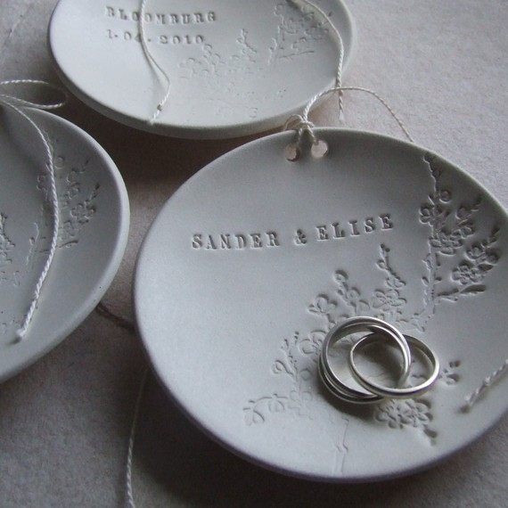 Свадьба - personalized Ring Bearer Bowl with floral blooming branch design, custom wedding ring dish by Paloma's Nest