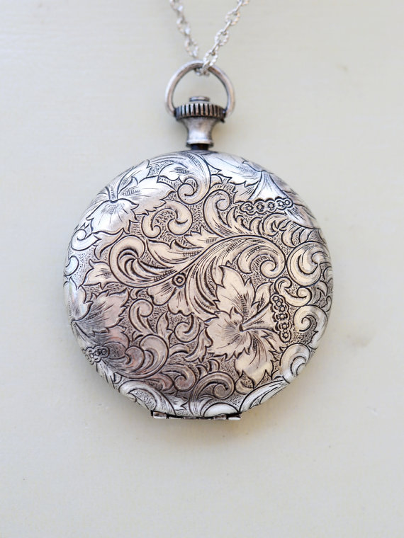 Floral locket necklaceflower pocket watch silver locketvintage floral locket necklaceflower pocket watch silver locketvintage silver locketphoto locketjewelry gift bridesmaid necklacewedding45mm aloadofball Images