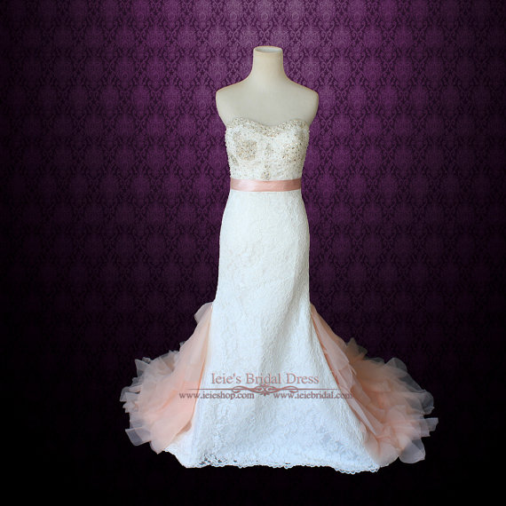 Blush Wedding Dress Petite : Vintage petite wedding dress slim a line lace with blush