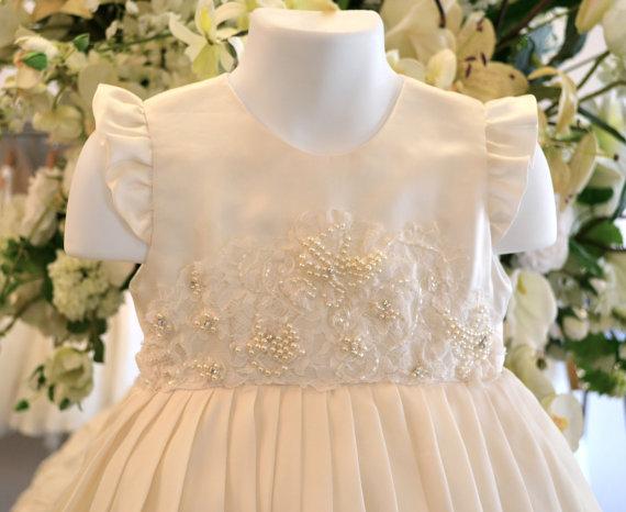 Свадьба - Baptism Dress, Christening Dress, Flower Girl Dresses, Dedication Dress, Blessing Dress, Easter Dress, Naming Ceremony Dress / Ivory