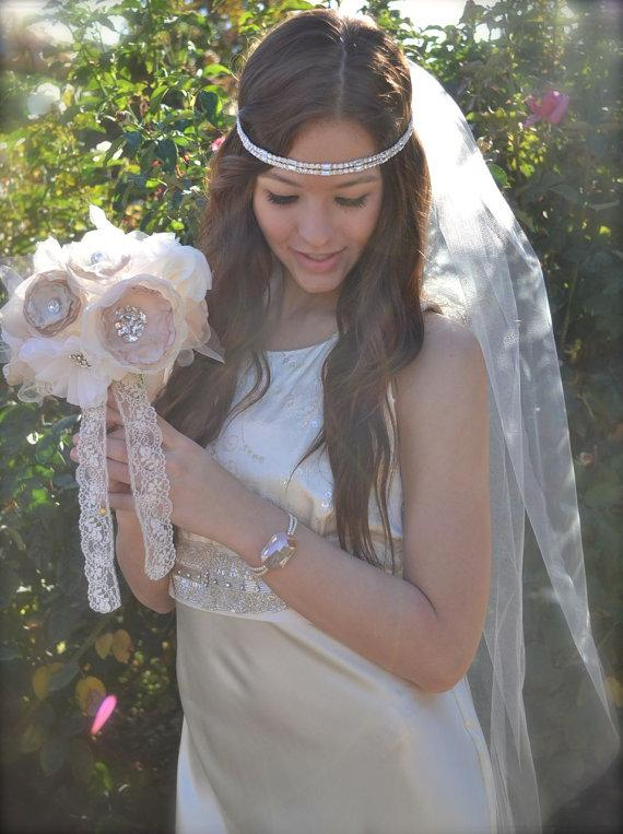 "Wedding - Fingertip Veil with Swarovski crystals, Pencil edge 40"" long hip length and blusher 54"" wide bridal illusion tulle veil, rhinestone veil"