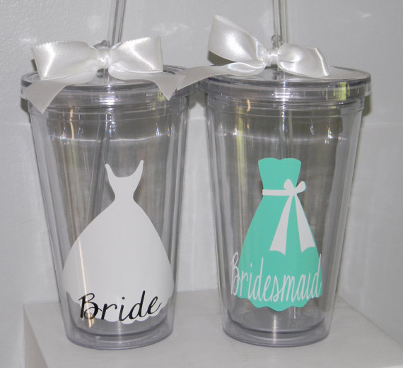 Mariage - 9  Personalized Bridesmaid Wedding Tumblers Set of 9 -   Flower Girl Ring Bearer- Any Color Any Design Custom