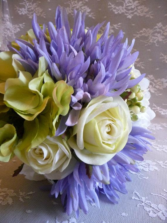Cornflower rose and hydrangea bouquet bunch periwinkle blue ivory cornflower rose and hydrangea bouquet bunch periwinkle blue ivory lime green silk flowers for home decor weddings shabby crafts decoration mightylinksfo Images