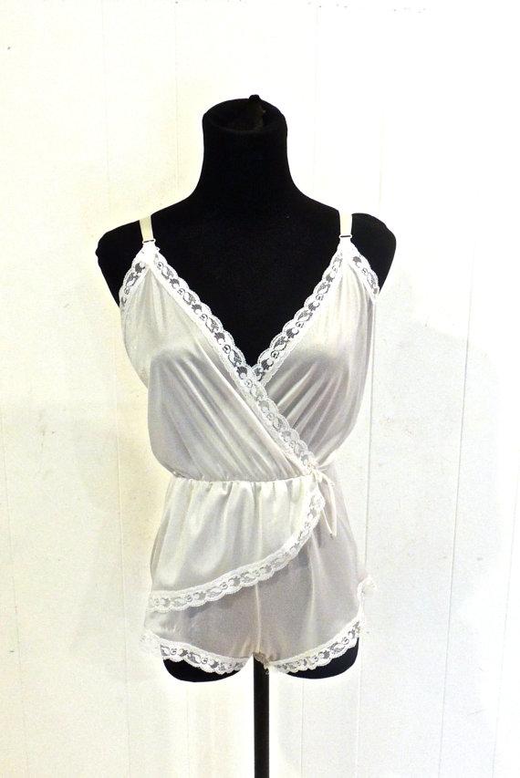 Mariage - vintage lingerie romper - 1960s white lacy bodysuit playsuit onesie