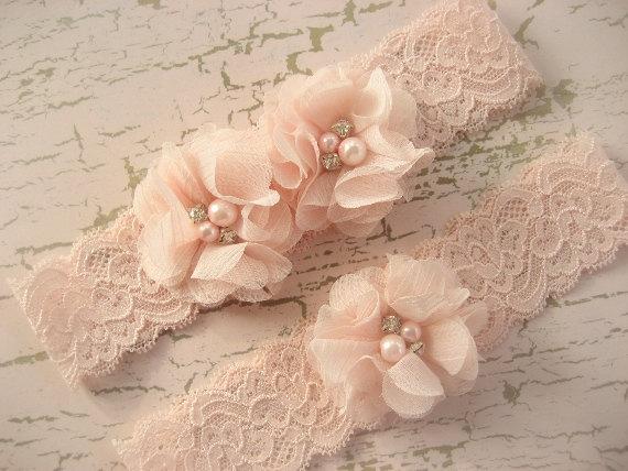 Mariage - Blush Wedding Garter , Garter Set with Toss Garter in Blush  , Bridal Garter with Chiffon Blossoms pearls and rhinestones