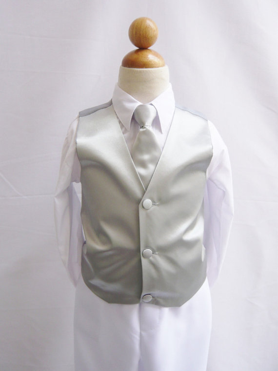 Mariage - Boy Vest with Long Tie in Silver for Ring Bearer, Communion, Wedding in Size 2, 4, and More