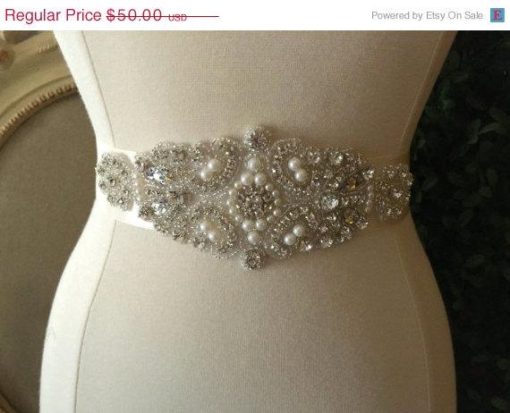 Wedding - ON SALE Bridal Sash - Wedding Dress Sash Belt - Pearl and Rhinestone Ivory Sash - Ivory Rhinestone Bridal Sash