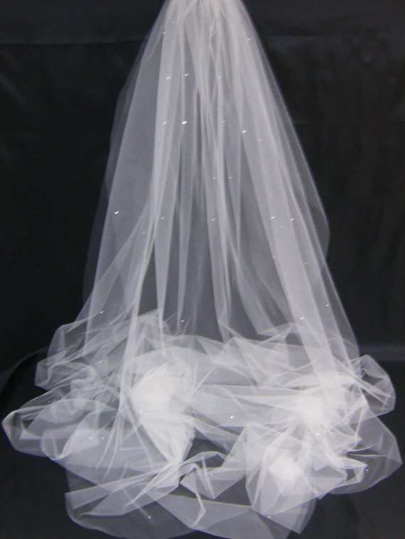 Wedding - Swarovski Crystal Rhinestone Sheer 72 Inch Long Floor Length Veil with Blusher
