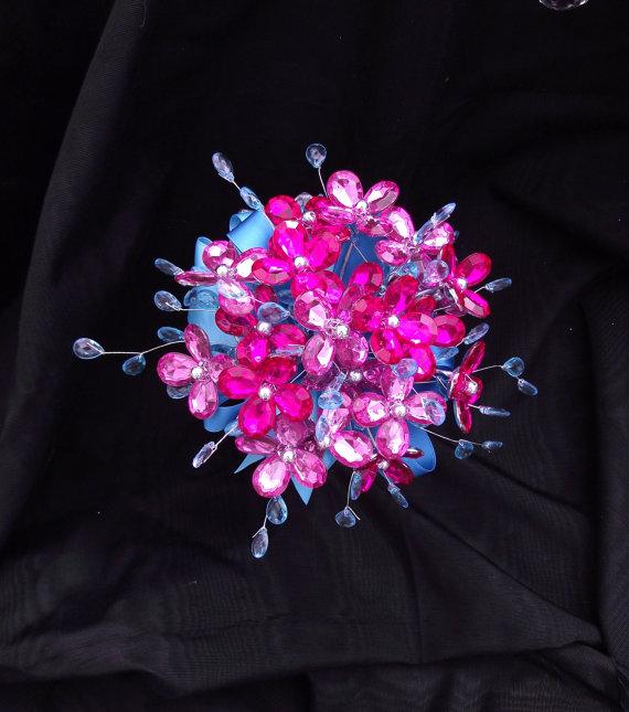 Hot Pink And Aqua Blue Bridesmaid Bouquet Fuchsia And Turquoise
