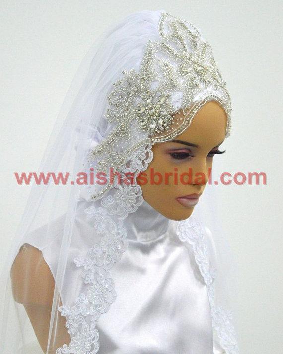 Wedding - Ready To Wear Bridal Hijab  Code: HGT-0487 Muslim Bride, Modest Bride, Veil, Wedding