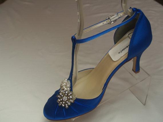 Hochzeit - RoyalBlue Wedding Shoes Vintage style