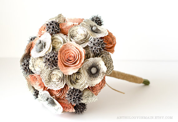 Hochzeit - Bridal Bouquet with Roses, Poppies, Sweetgum made from Books - IN YOUR COLORS - Alternative Bouquet - Harry Potter, Jane Austen, and more