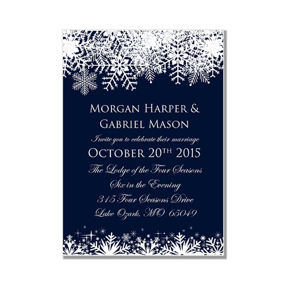 winter wedding invitation - snowflake wedding - instant download, Wedding invitations