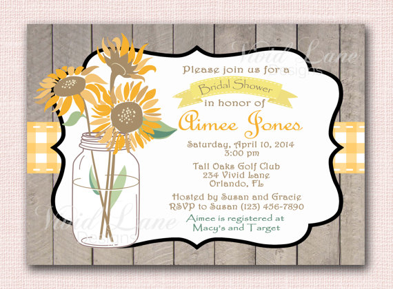 Mariage - Bridal Shower Invitatio, Fall Invitation - Sunflowers, Orange, Yellow, Green, Wood, Rustic Wedding Shower, Printable - 091
