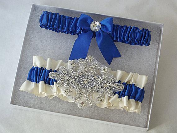 Свадьба - Wedding Garter Set in Royal Blue and Ivory Garters with Crystal Rhinestone Applique