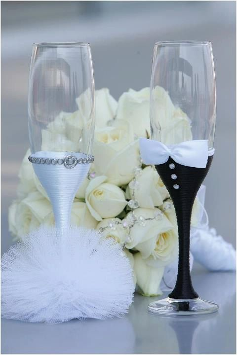 Mariage - Hand Made Wedding Glasses One Pair Of Two Glasses
