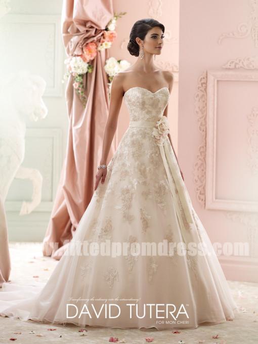 Wedding - David Tutera for Mon Cheri Style Liesl 215269 Strapless Tulle Wedding Dresses