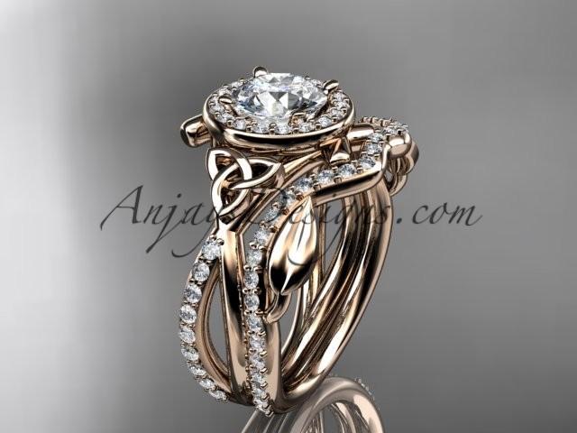 Hochzeit - 14kt rose gold celtic trinity knot engagement set, wedding ring CT789S