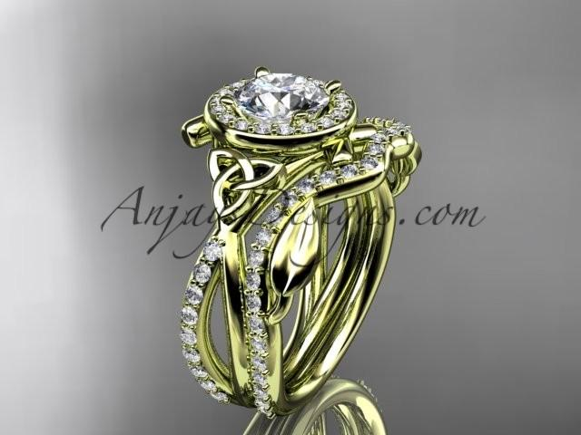 Hochzeit - 14kt yellow gold celtic trinity knot engagement set, wedding ring CT789S