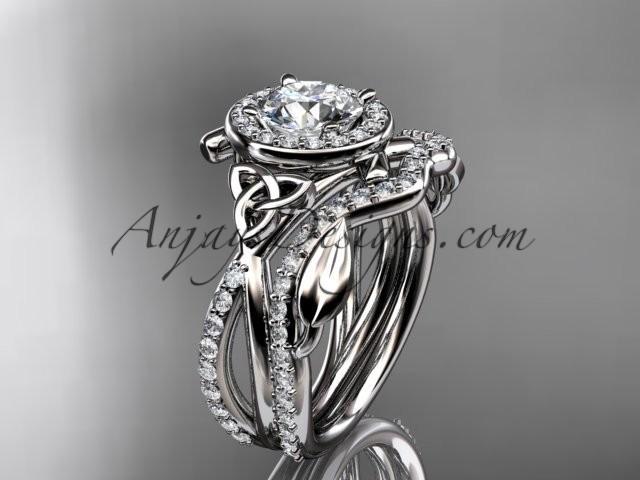 Wedding - platinum celtic trinity knot engagement set, wedding ring CT789S