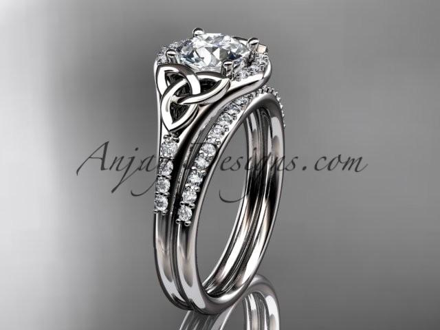 Wedding - platinum diamond celtic trinity knot wedding ring, engagement set CT7126S