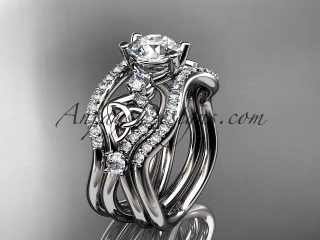 Wedding - platinum celtic trinity knot engagement ring, wedding ring with double matching band CT768S