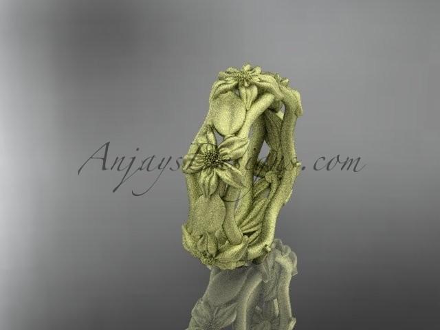 Wedding - 14kt yellow gold diamond leaf and vine, floral wedding ring ADLR105