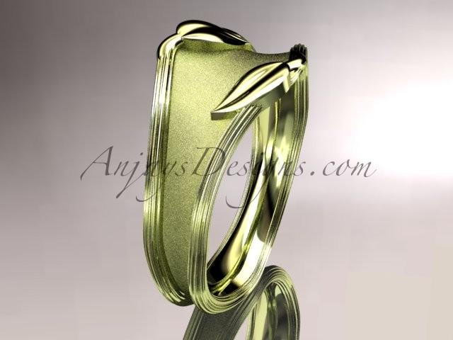 Wedding - 14kt yellow gold leaf and vine wedding ring, engagement ring, wedding band ADLR60