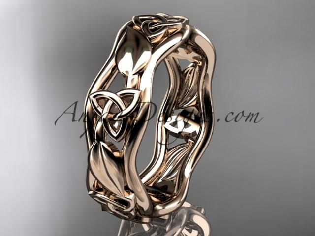 Wedding - 14kt rose gold celtic trinity knot engagement ring, wedding band CT7105B