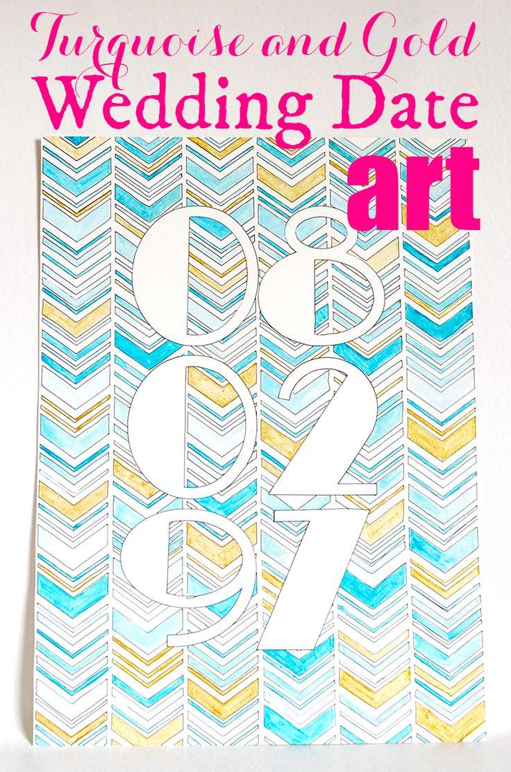 Mariage - Turquoise And Gold Wedding Date Art