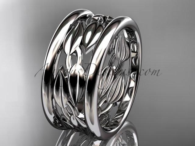 Mariage - Platinum leaf and vine wedding ring,engagement ring,wedding band ADLR293