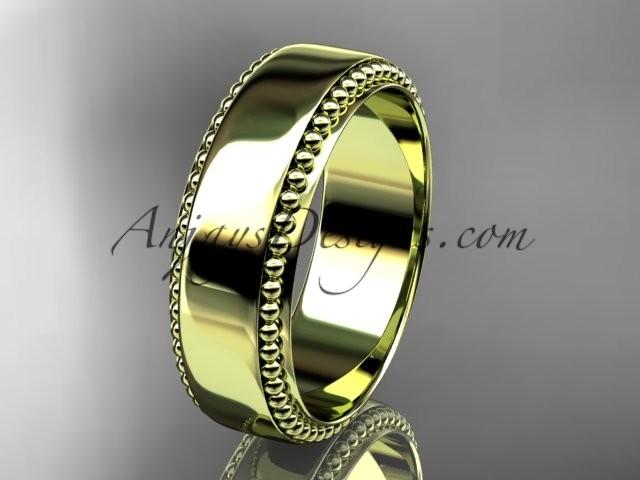 Wedding - 14kt yellow gold leaf and vine wedding band, engagement ring ADLR380G