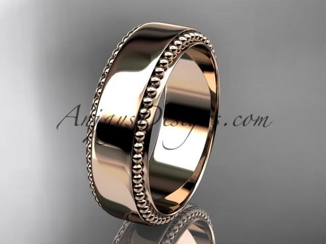 Wedding - 14kt rose gold leaf and vine wedding band, engagement ring ADLR380G