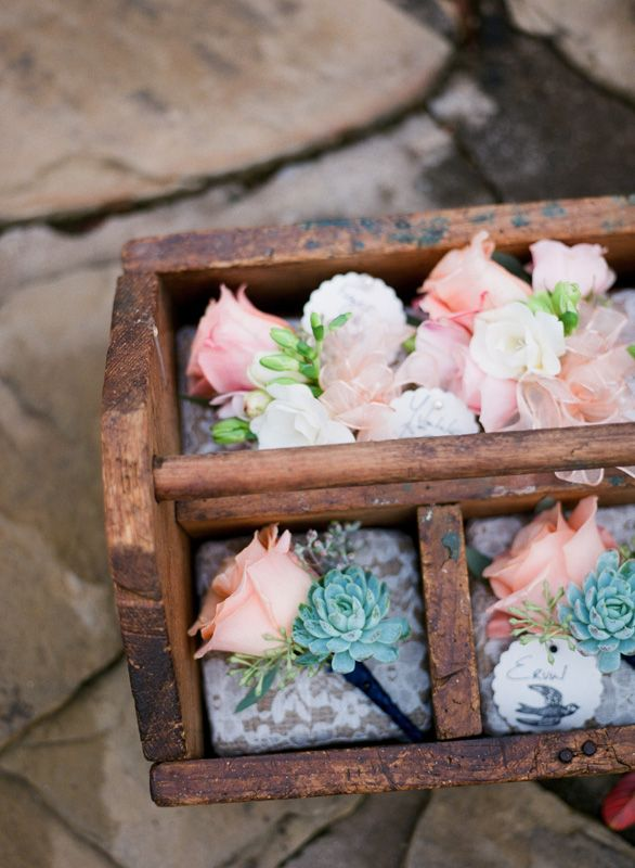 Wedding - Rose And Succulent Boutonnieres
