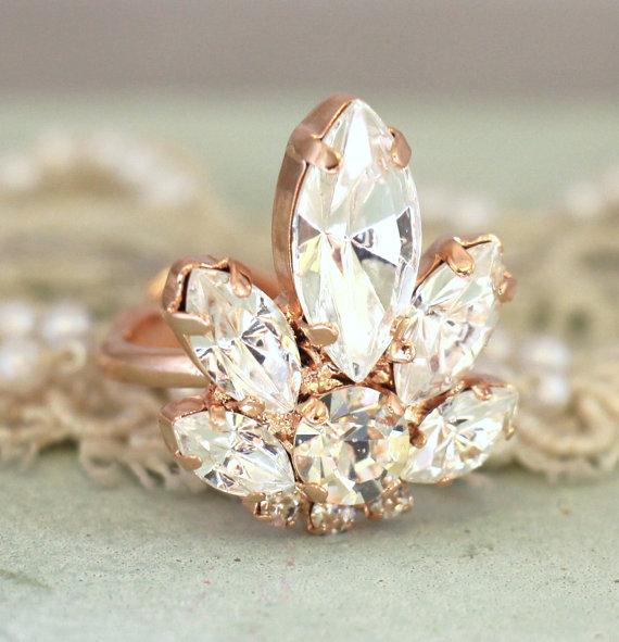 Hochzeit - Swarovski Crystal Ring,Rose Gold Cocktail Crystal Ring,Bridal Swarovski Ring,Victorian Style Crystal Elegant Ring,Rose Gold Crystal Ring