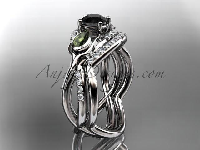 14kt White Gold Diamond Leaf And Vine Flower Engagement Ring