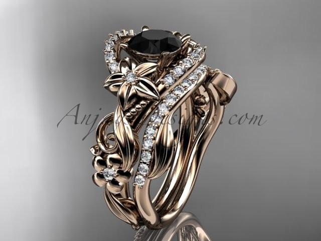 Wedding - 14kt rose gold diamond unique flower, leaf and vine engagement set with a Black Diamond center stone ADLR211