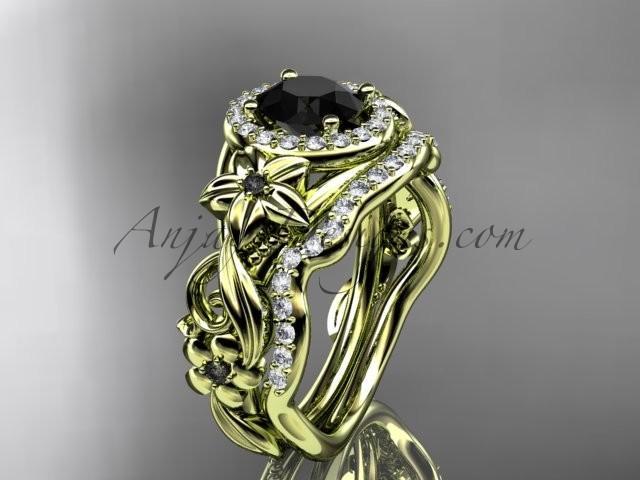 Hochzeit - 14kt yellow gold diamond unique engagement set, wedding set with a Black Diamond center stone ADLR300