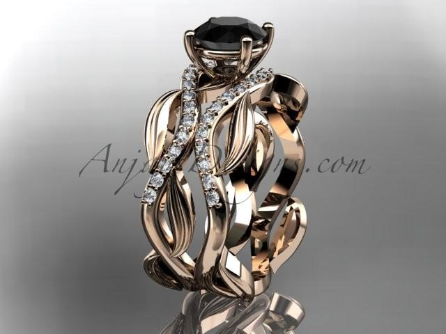 Wedding - 14kt rose gold diamond leaf and vine wedding set, engagement set with a Black Diamond center stone ADLR264