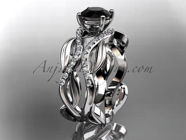 Wedding - 14kt white gold diamond leaf and vine wedding set, engagement set with a Black Diamond center stone ADLR264