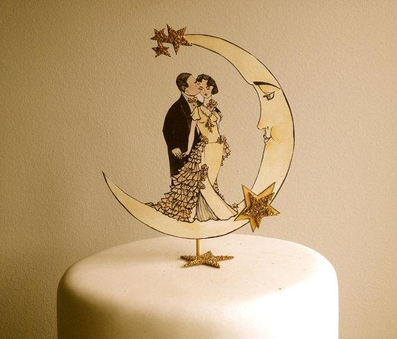 Mariage - Art Deco Wedding Cake Topper - Deco Moon - Glitter 14 Karat Gold - Bride and Groom Cake Topper